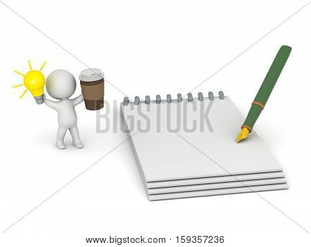 3D character with a light bulb idea a cup of coffee and a large notepad. Isolated on white background.