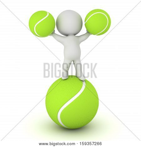 3D character with some tennis balls. Isolated on white background.