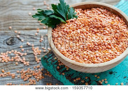 Bowl With Dry Red Lentils Closeup.