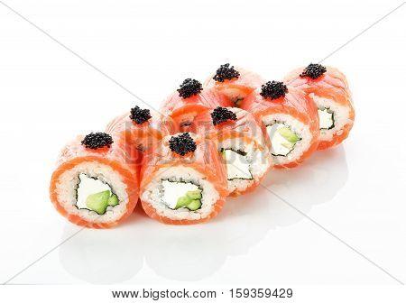 Sushi With Salmon And Philadelphia On White