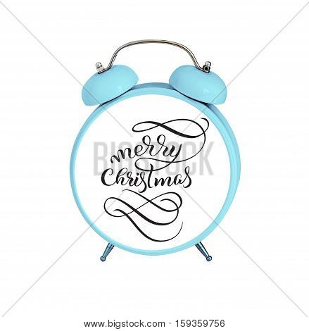 mechanical alarm clock isolated on white background and text Merry Christmas. Calligraphy lettering.