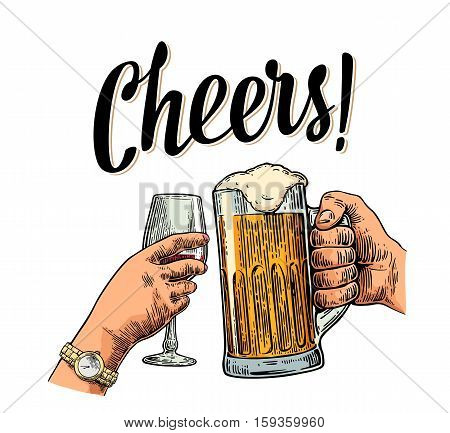 Female and male hands holding and clinking two glasses with beer and wine. Cheers toast lettering. Vintage vector color engraving illustration for invitation to party. Isolated on white background