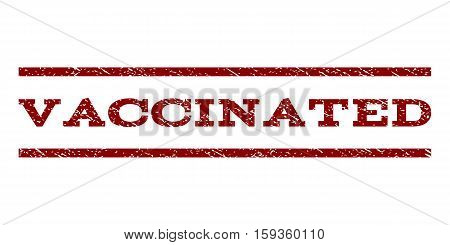 Vaccinated watermark stamp. Text caption between horizontal parallel lines with grunge design style. Rubber seal dark red stamp with dust texture. Vector ink imprint on a white background.