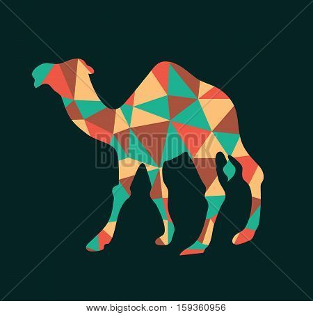 Camel polygon color design logo style icon flat vector stock
