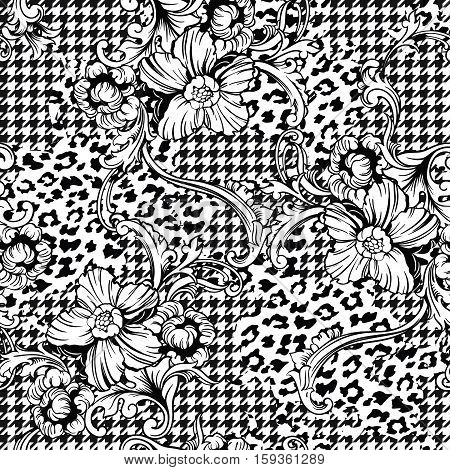 Eclectic fabric seamless pattern. Animal and plaid background with baroque ornament. Vector illustration