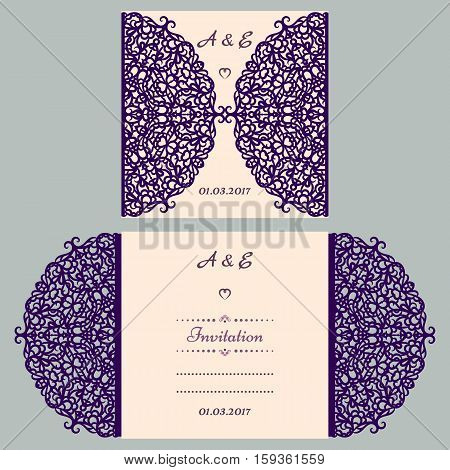 Die cut wedding invitation card template. Paper cut out card with lace. Beautiful laser cut invitation card for wedding. Paper cutouts. Wedding invitation template.