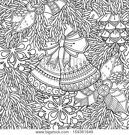 Seamless pattern in doodle style. Floral, ornate, decorative, tribal, Christmas decor. Black and white background. Christmas tree, pine cone, bells. Zentangle hand drawn coloring book page
