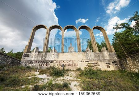 ALCOCERO DE MOLA SPAIN - AUGUST 28: Monument in memory of franchist General Emilio Mola on august 28 2014. was built in 1939. Emilio Mola died in a plane crash near Alcocero in 1937 during the spanish civil war.