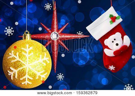 Red Christmas Sock And Christmas Toys