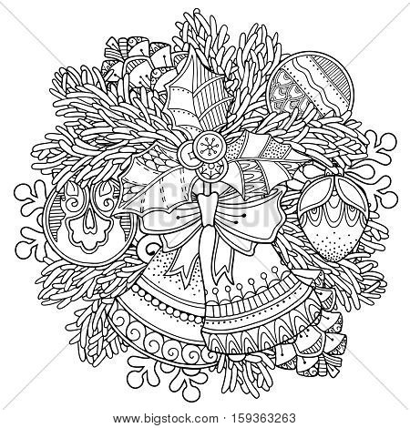 Christmas, New Year composition in doodle style. Floral, ornate, tribal, decor design elements. Black and white background. Christmas tree, bells, bow. Zentangle coloring book page