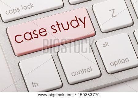 Case study word written on computer keyboard.