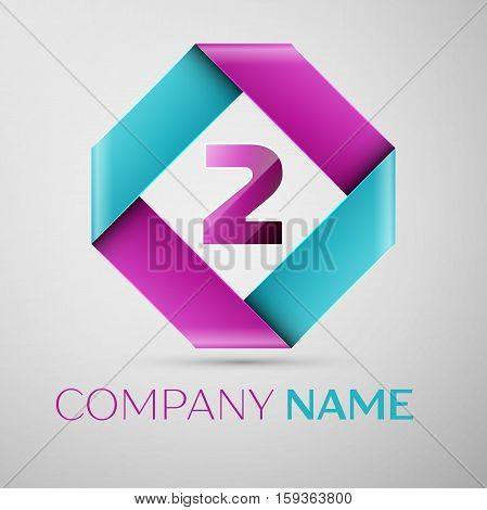 Number two vector logo symbol in the colorful rhombus. Vector template for your design