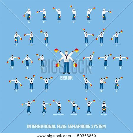 Vector illustration of sailors performing international flag semaphore alphabetic system. All objects grouped, named and layered.