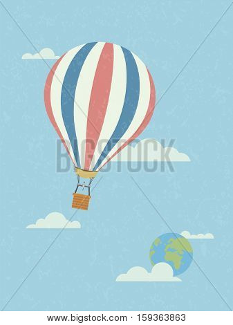 Global travel concept, hot air balloon in the sky leaving planet earth. Retro style, grunge texture, pastel colors