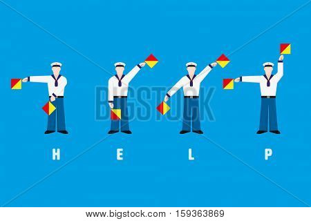 Flat design sailors waving signal flags, performing word help with flag semaphore system