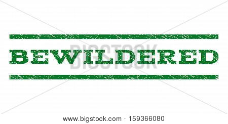 Bewildered watermark stamp. Text tag between horizontal parallel lines with grunge design style. Rubber seal green stamp with unclean texture. Vector ink imprint on a white background.