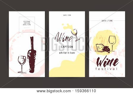 Vector collection of artistic hand drawn wine insignia design. Ink drawing illustration. Watercolor painting. Business card, banner, poster, flayer, leaflet design. Wine logo.