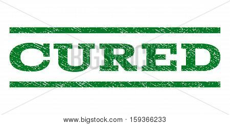 Cured watermark stamp. Text tag between horizontal parallel lines with grunge design style. Rubber seal green stamp with unclean texture. Vector ink imprint on a white background.