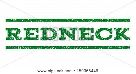 Redneck watermark stamp. Text caption between horizontal parallel lines with grunge design style. Rubber seal green stamp with dirty texture. Vector ink imprint on a white background.