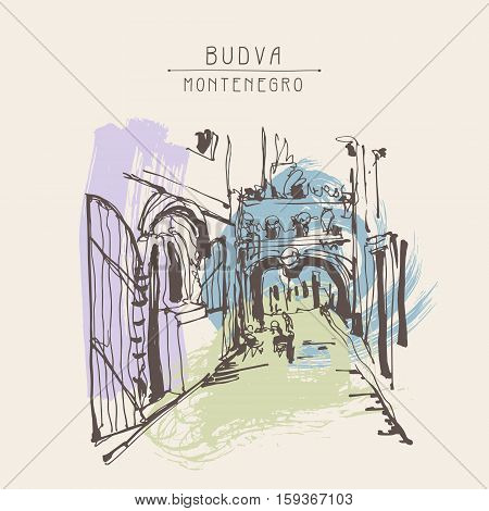 ink sketching of historic narrow cobbled street in Budva Montenegro, vintage touristic postcard, old town travel vector illustration