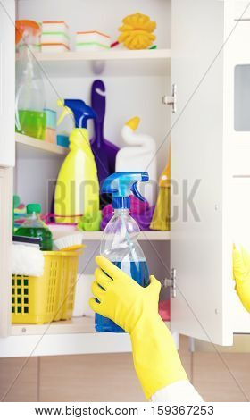 Cleaning Supplies Storing In Pantry