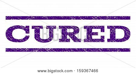 Cured watermark stamp. Text tag between horizontal parallel lines with grunge design style. Rubber seal indigo blue stamp with scratched texture. Vector ink imprint on a white background.