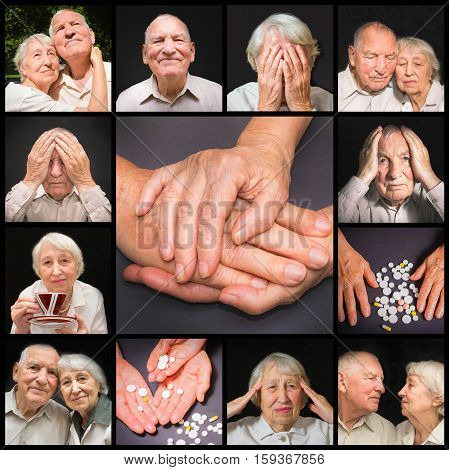 The collage of images of elderly couple on black background. concept disease pain medication and love and mutual