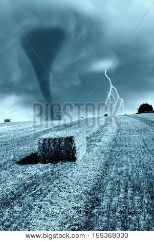 Powerful Beautiful Tornado American Plains In The Background