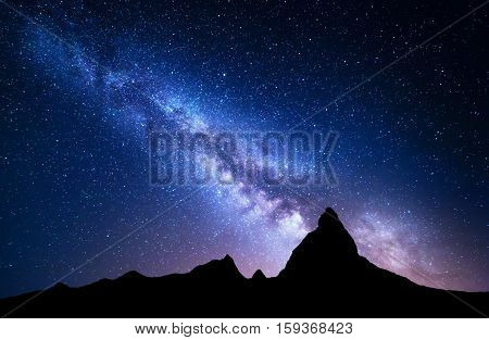 Night Landscape With Milky Way At Mountains