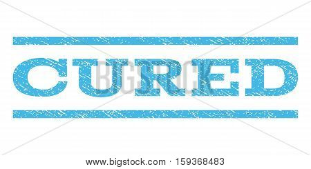 Cured watermark stamp. Text caption between horizontal parallel lines with grunge design style. Rubber seal light blue stamp with dirty texture. Vector ink imprint on a white background.
