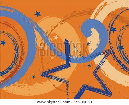 Fondo grunge abstracto con elementos estrella y desplazamiento. Comprobar mi cartera para más antecedentes como