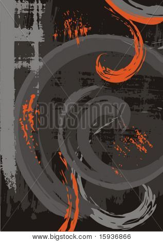 Abstract grunge background with scroll elements. Check my portfolio for more backgrounds as well as thousands of other great vector items.