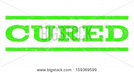 Cured watermark stamp. Text caption between horizontal parallel lines with grunge design style. Rubber seal light green stamp with scratched texture. Vector ink imprint on a white background.
