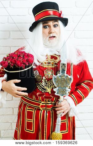 Amazed Senior Beefeater Man