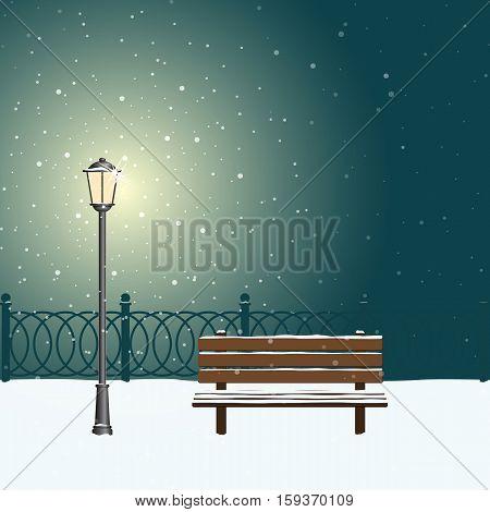 Snow on background of street lamp light. Winter night park. Vector illustration.