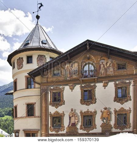 Beautiful painted building in downtown Berchtesgaden, Germany, 1594.