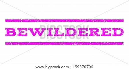 Bewildered watermark stamp. Text caption between horizontal parallel lines with grunge design style. Rubber seal magenta stamp with dust texture. Vector ink imprint on a white background.