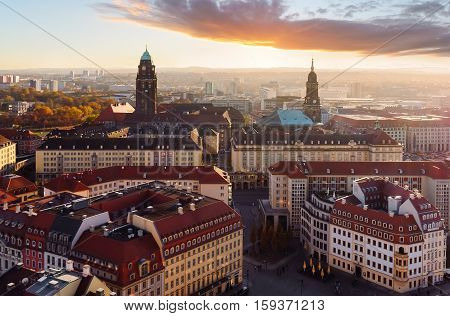 Evening over the city of Dresden Saxony Germany.