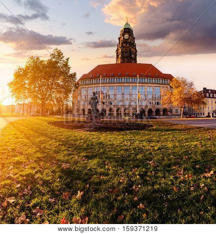 New Town Hall on Rathaus Square in Dresden Saxony Germany.