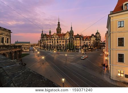 Panorama of the evening Dresden city in Saxony Germany Europe.