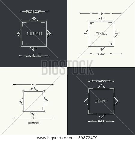 Vintage set collection linear geometric frame with divider. Geometry retro art shape deco. Vector vintage separate border. Tribal text box. Ethnic textbox.