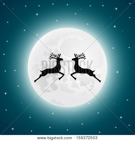 Reindeer on the background of the full moon vector