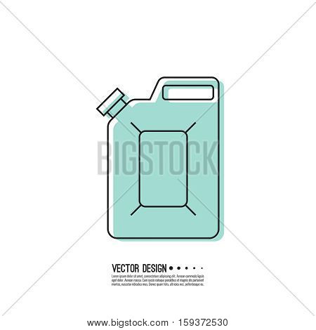 Canister under the petrol, gasoline and engine oil. Modern thin line icon. outline symbol. Vector. Can for combustible materials. linear style poster
