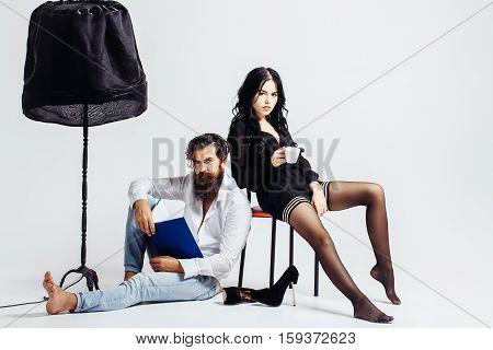 Couple On White Studio Background