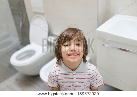 Kid in bathroom