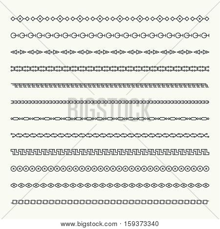 Dividers vector set isolated. Geometric horizontal vintage line border and text design element. Collection of decorative page rules. Separation select text. Divider