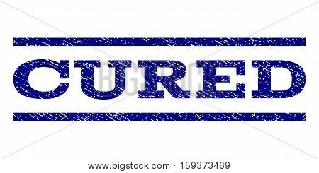 Cured watermark stamp. Text tag between horizontal parallel lines with grunge design style. Rubber seal navy blue stamp with unclean texture. Vector ink imprint on a white background.