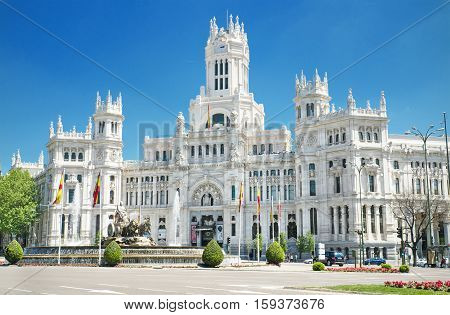 Plaza de Cibeles and Palacio de Comunicaciones famous landmark in Madrid Spain.