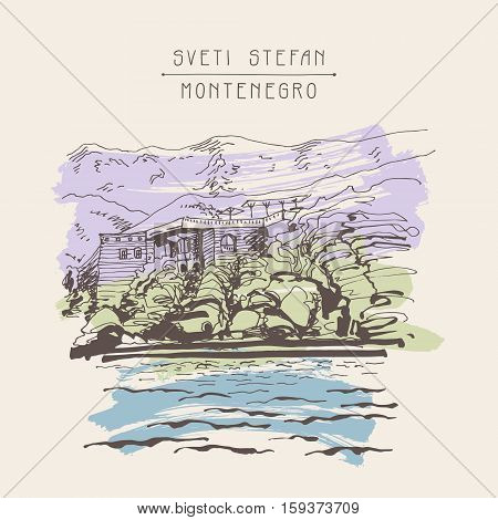 original sepia sketch drawing of Sveti Stefan island in Montenegro, Balkans, Adriatic sea, Europe, travel postcard vector illustration