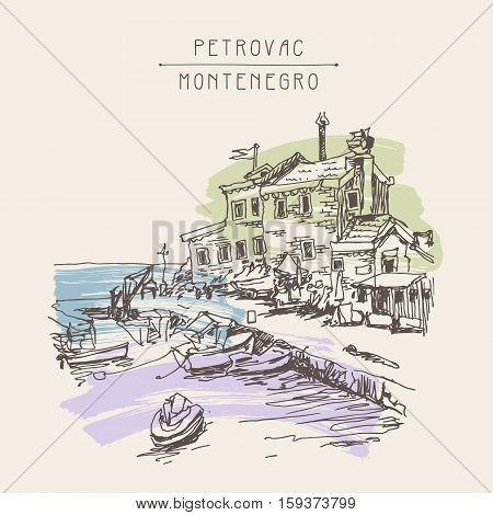 original sepia ink sketch drawing of ancient fort in Petrovac Montenegro, Balkans, Adriatic sea, Europe, vintage touristic postcard, travel vector illustration